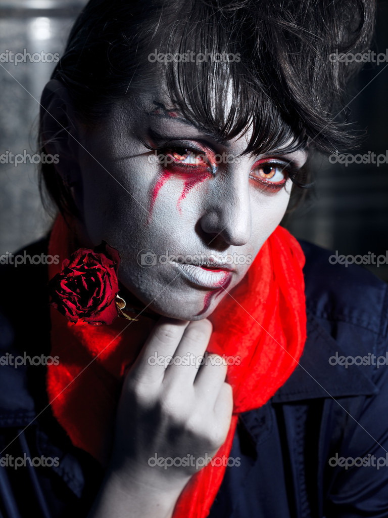 Woman as a vampire. Halloween face art  Stock Photo #4066747