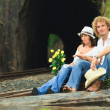Couple on train tracks — Stock Photo #4137570