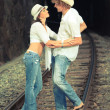 Couple on train tracks — Stock Photo #4137611