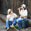 Couple on train tracks — Stock Photo #4137645