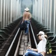 Couple on train tracks — Stock Photo #4137669