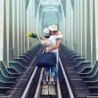 Couple on train tracks — Stock Photo #4137673