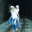 Couple on train tracks — Stock Photo #4383762