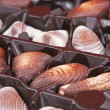 Chocolate sweet-shells lies in the box — Stock Photo