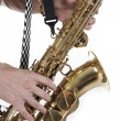 Shirtless jazzman plays a saxophone — Stock Photo