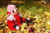 Baby playing with autumn leaves — Stock Photo