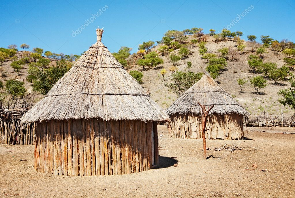 Traditional huts of himba , Namibia, Kaokoland  Stock Photo #4127039