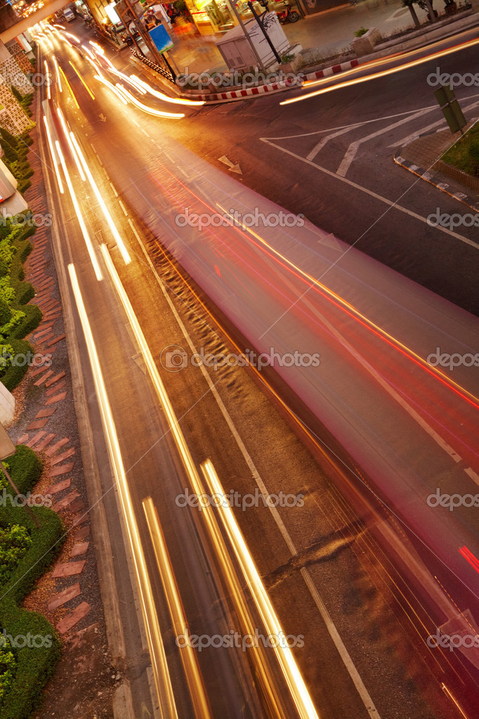 Night traffic in the city, car lights in motion blur — Stock Photo #4127154