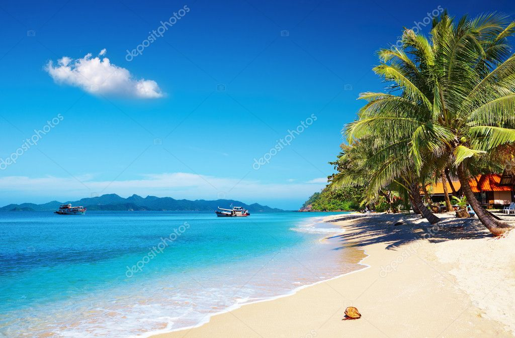 Tropical beach with coconut palms and bungalow, Thailand — Stock Photo #4688606