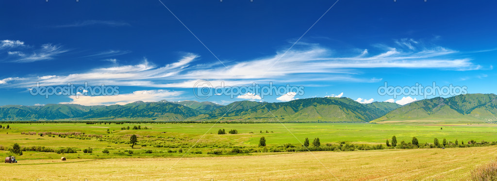 Mountain panorama with green field and blue sky — Stock Photo #4856802