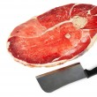 Piece of meat and knife — Foto Stock