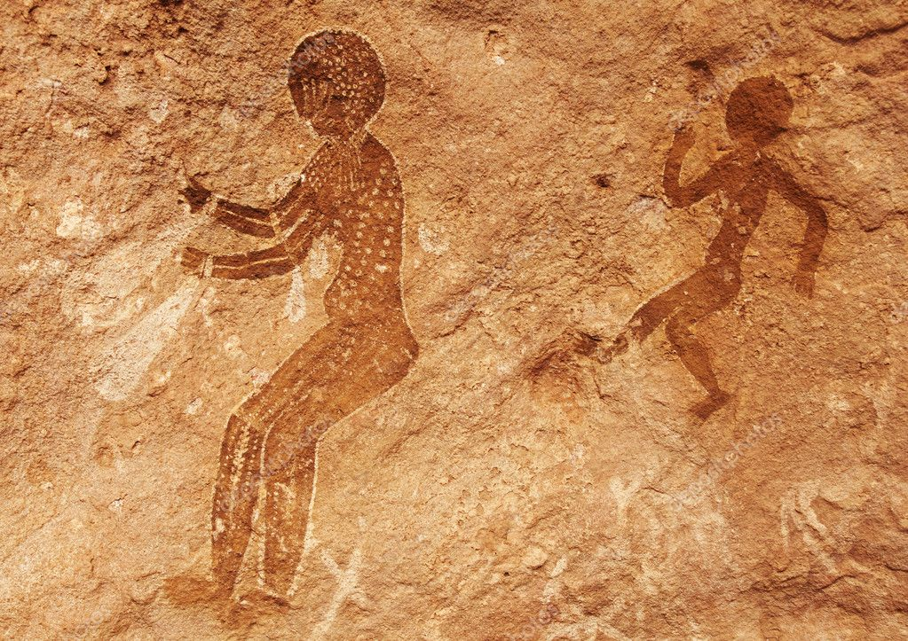 Famous prehistoric rock paintings of Tassili N'Ajjer, Algeria  Stock Photo #5352802