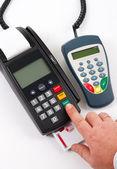 Credit card terminal POS-terminal for payment — Stock Photo