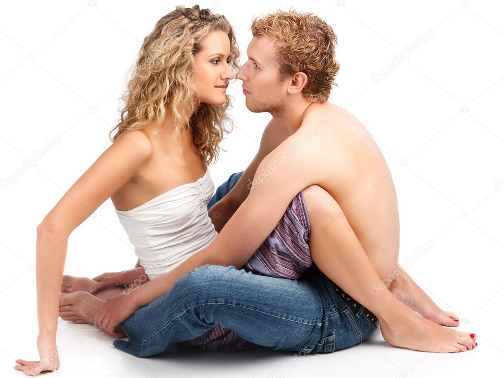 Happy young caucasian couple in romance. — Stock Photo #4975237