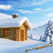House in snow mountain - Stok fotoğraf