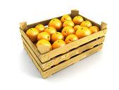 Dřevěné bedny plné pomeranče — Stock fotografie