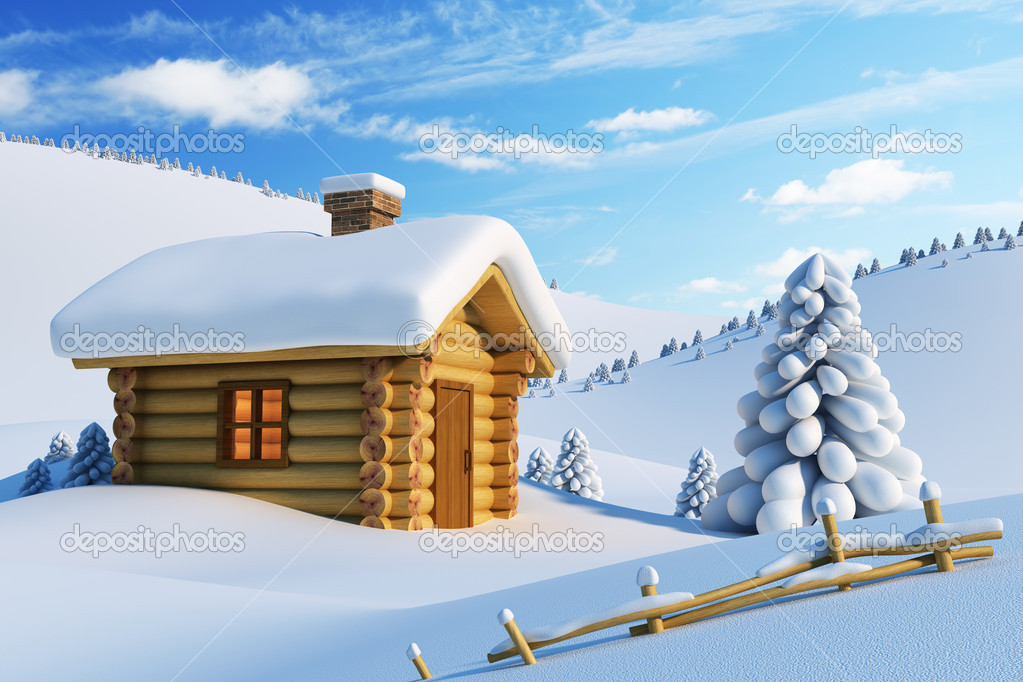 Log house and fir-tree in snow-drift mountain landscape — Stock Photo #4057037