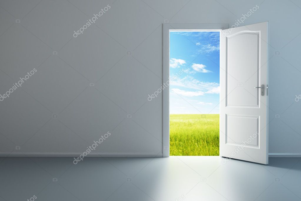 3d rendering the empty room with opened door — Stock Photo #4177110