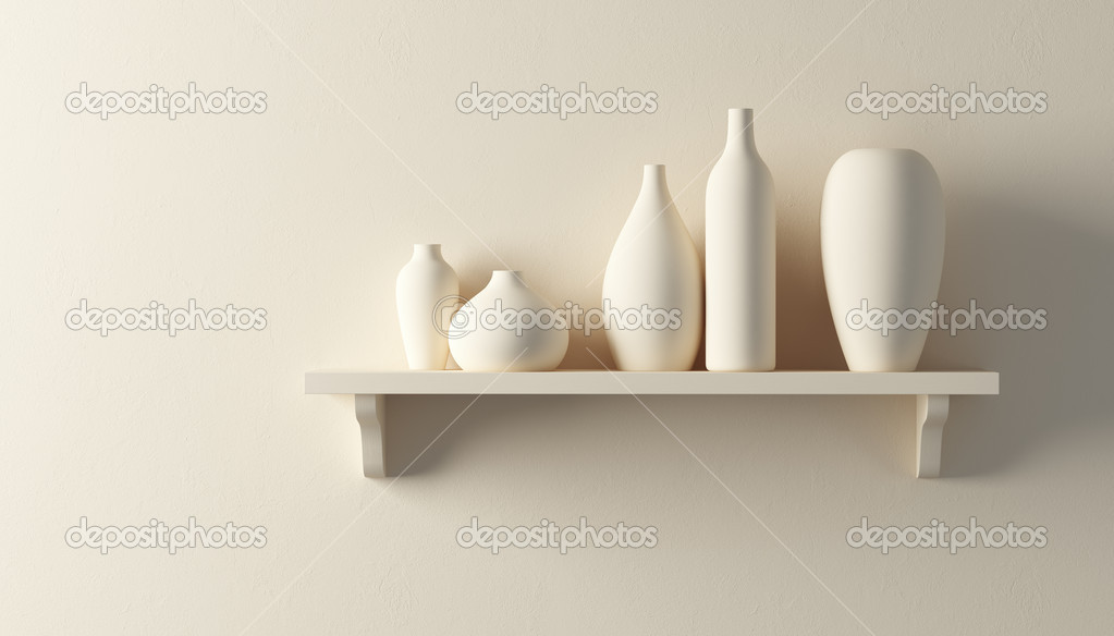 Ceramics vases on the shelf 3d render — Stock Photo #4435606
