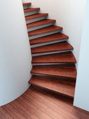Spiral wooden staircase — Stock Photo