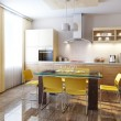 Modern kitchen interior 3d render - 图库照片