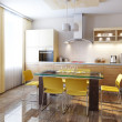 Modern kitchen interior 3d render - Stock Photo