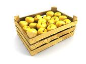 Dřevěné bedny plné jablek — Stock fotografie