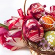 Stock Photo: Easter eggs and flower