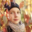 Autumn portrait of teen girl - Stock Photo