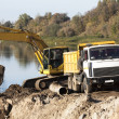 Yellow excavator - Stockfoto