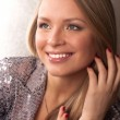 Image with beautiful blonde girl on close-up — Stock Photo #5080376