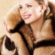Beautiful Woman Wearing A Mink Fur Coat  — Stock Photo
