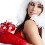 bela garota sexy vestindo roupa de Papai Noel — Foto Stock