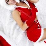 retrato de uma menina de inverno cochilando na pele branca — Foto Stock