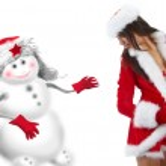 Beautiful sexy girl wearing santa claus clothes — Stock Photo #4039871