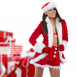 Beautiful sexy girl wearing santa claus clothes — Stock Photo #4039894
