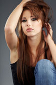 Young brunette woman beauty portrait studio shot — Stock Photo
