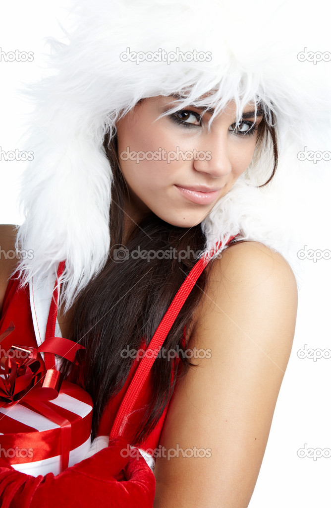 Beautiful sexy girl wearing santa claus clothes  — Stock Photo #4039039