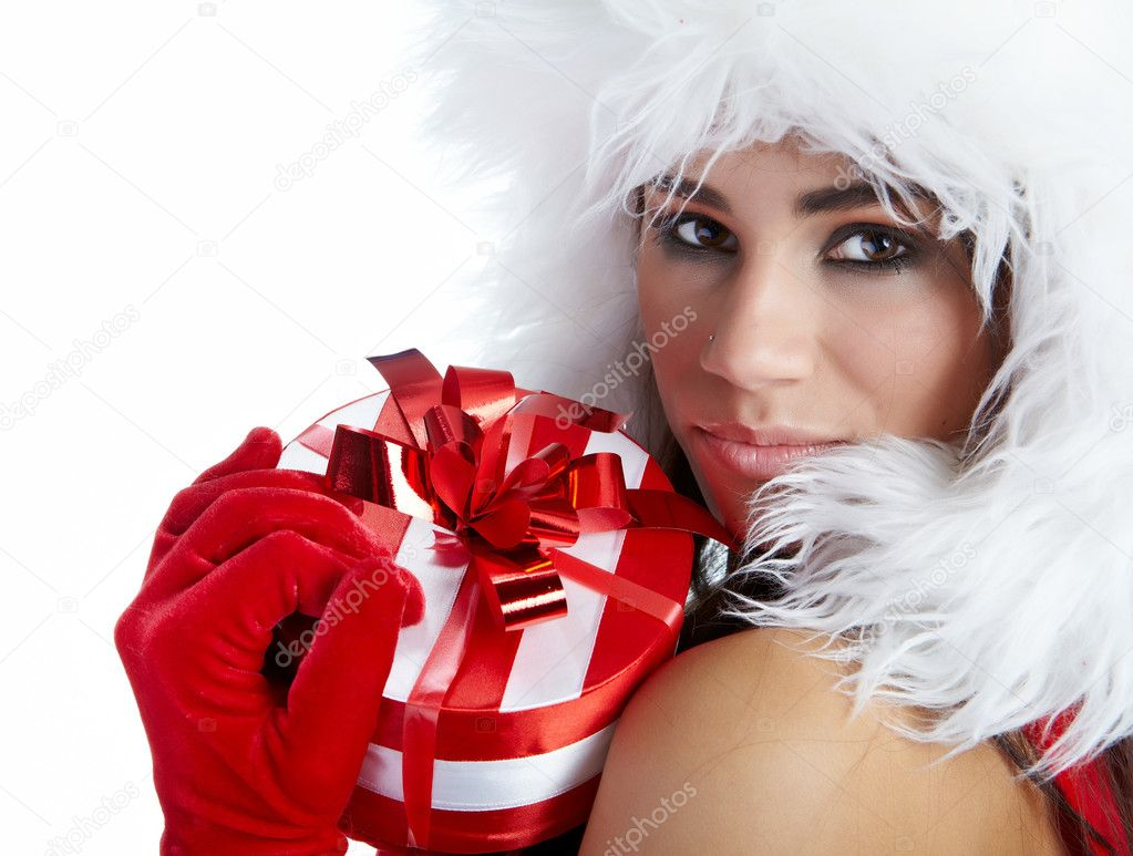 Winter girl with christmas gift — Stock Photo #4039061