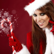 Portrait of beautiful sexy girl wearing santa claus clothes — Stock Photo #4040016