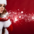 Portrait of beautiful sexy girl wearing santa claus clothes — Stock Photo #4040110