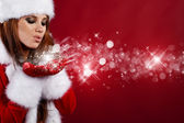 Portrait of beautiful sexy girl wearing santa claus clothes — Stok fotoğraf
