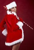 Retrato da bela garota sexy vestindo roupa de Papai Noel — Fotografia Stock