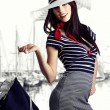 Woman and Sailor fashion style — Stock Photo #4788416