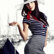 Womand Sailor fashion style — Stock Photo #4788416