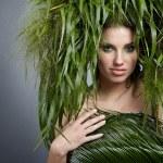 concepto de mujer, verde ecología — Foto de Stock