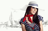 Woman and Sailor fashion style — Stock Photo