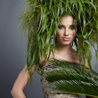 Ecology woman, green concept — Stockfoto