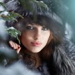Beautiful young woman in winter forest — Stock Photo #4817281