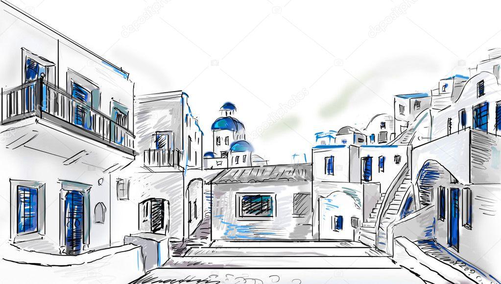 绘制到希腊小镇